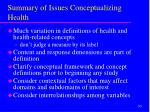 summary of issues conceptualizing health