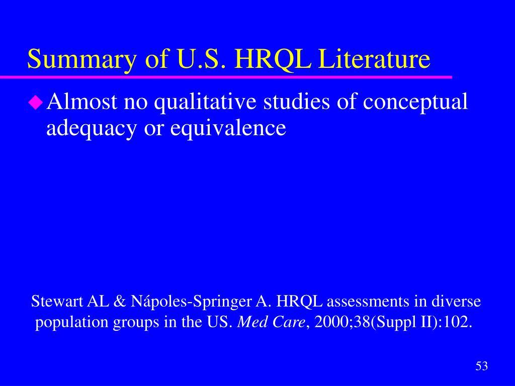 Summary of U.S. HRQL Literature