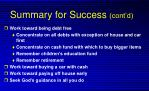 summary for success cont d