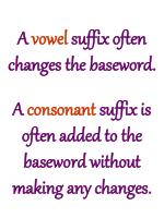 a vowel suffix often changes the baseword