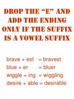 drop the e and add the ending only if the suffix is a vowel suffix