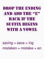 drop the ending and add the e back if the suffix begins with a vowel