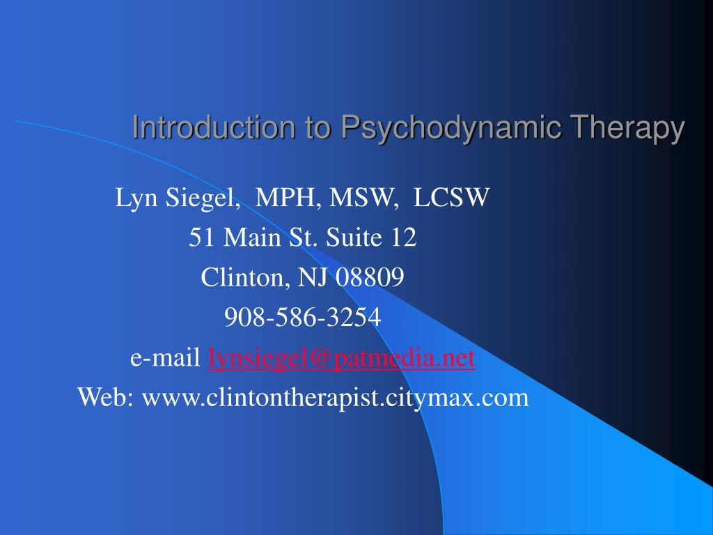 introduction to psychodynamic therapy l.