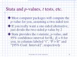 stata and p values t tests etc