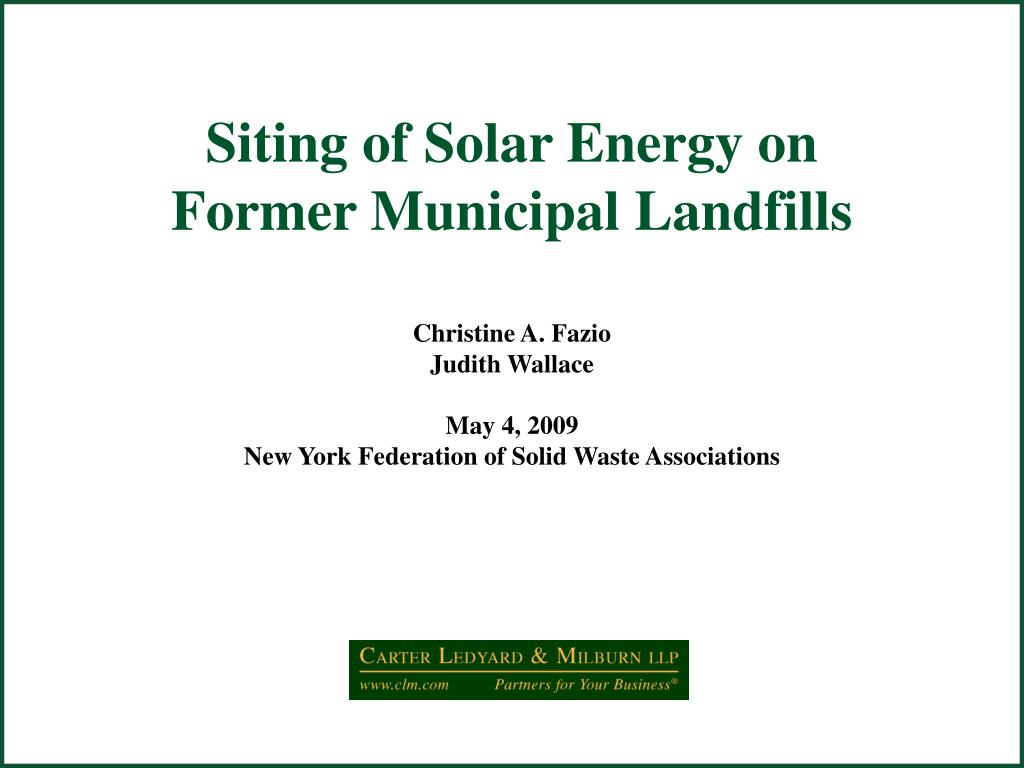 siting of solar energy on former municipal landfills l.