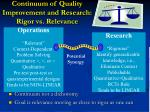 continuum of quality improvement and research rigor vs relevance