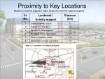 proximity to key locations