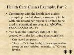 health care claims example part 2