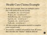 health care claims example