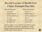 record layouts of health care claims example data sets