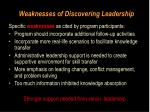 weaknesses of discovering leadership