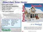 direct gain solar heater