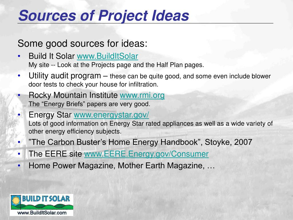 Sources of Project Ideas