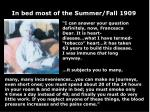 in bed most of the summer fall 1909