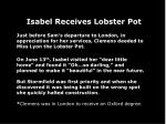 isabel receives lobster pot