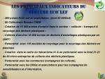 les principaux indicateurs du syst me eco lef