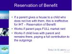reservation of benefit