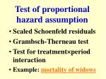 test of proportional hazard assumption