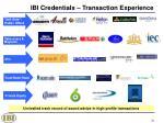 ibi credentials transaction experience
