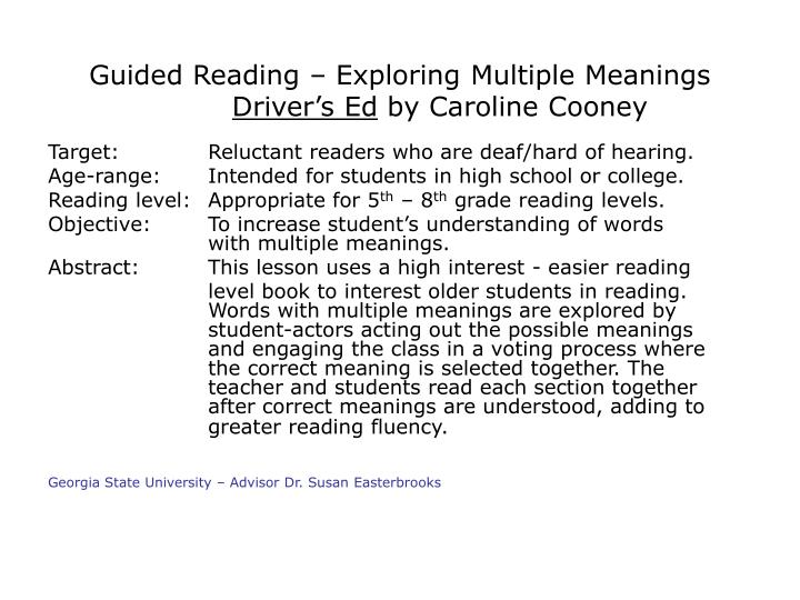guided reading exploring multiple meanings driver s ed by caroline cooney n.