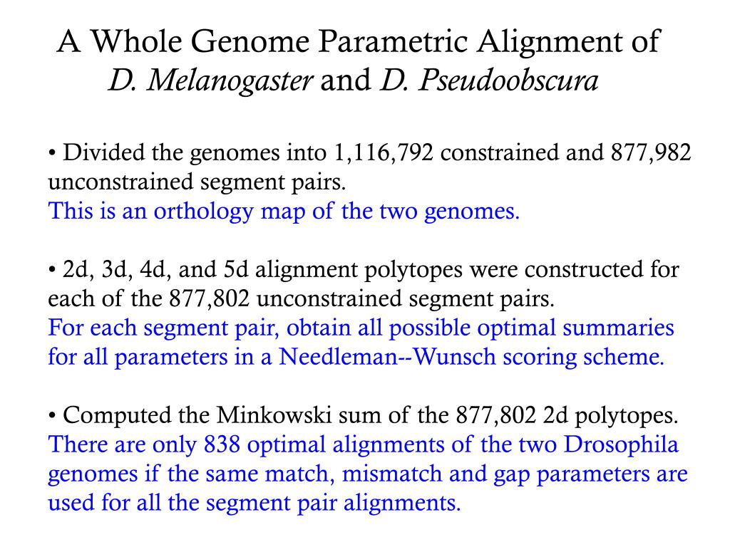 A Whole Genome Parametric Alignment of
