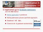 application admissions ii