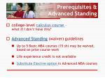 prerequisites advanced standing