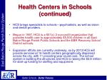 health centers in schools continued12