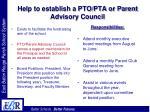 help to establish a pto pta or parent advisory council