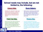 school needs may include but are not limited to the following20