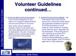 volunteer guidelines continued