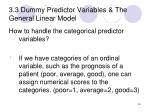 3 3 dummy predictor variables the general linear model