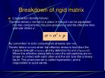 breakdown of rigid matrix