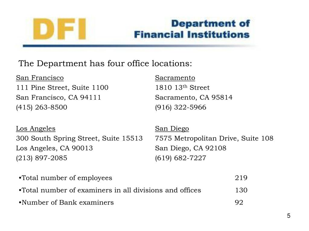 The Department has four office locations: