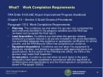 what work completion requirements