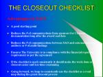 the closeout checklist10