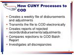 how cuny processes to cod