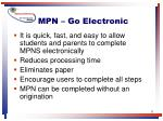 mpn go electronic