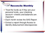 reconcile monthly