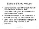 liens and stop notices