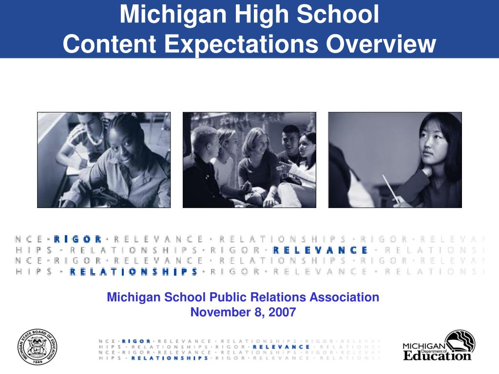 michigan high school content expectations overview l.