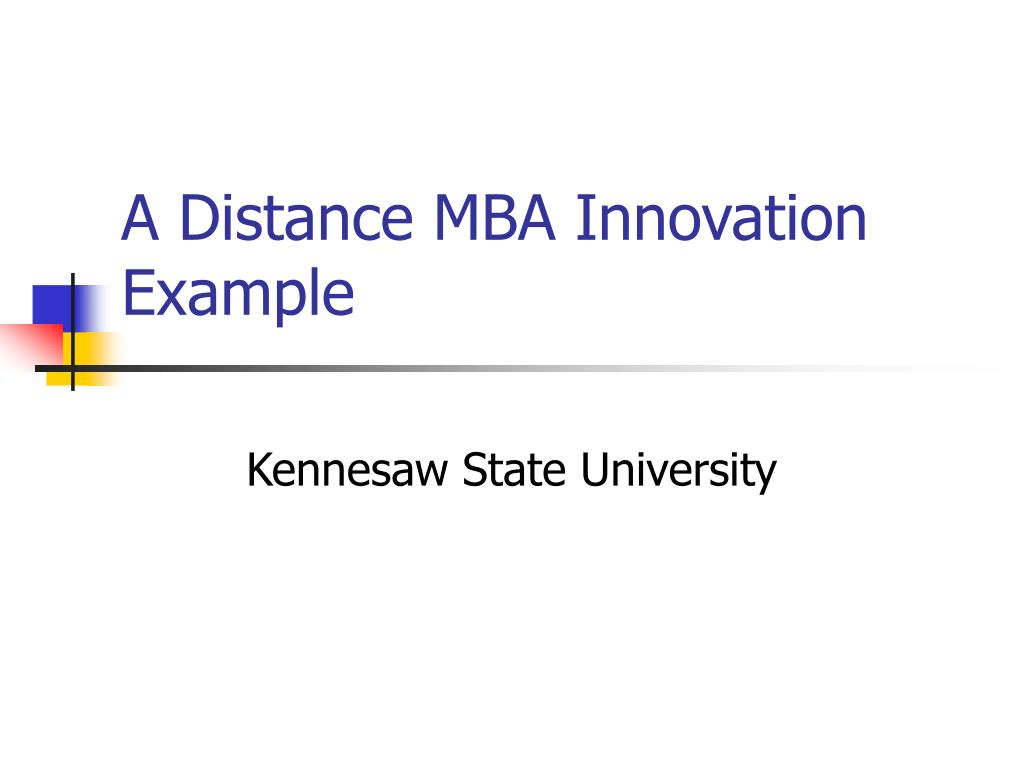 A Distance MBA Innovation Example