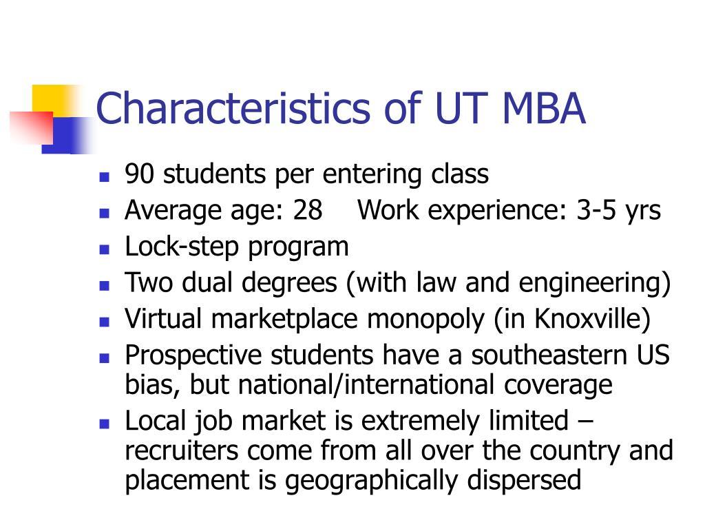 Characteristics of UT MBA