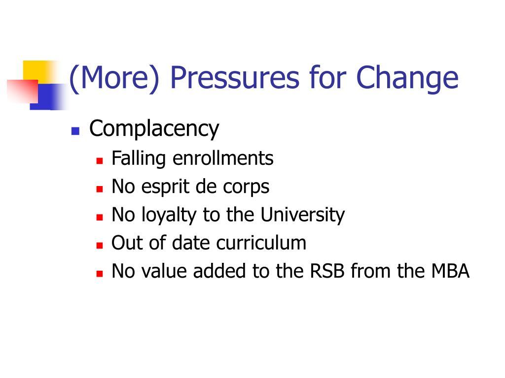 (More) Pressures for Change