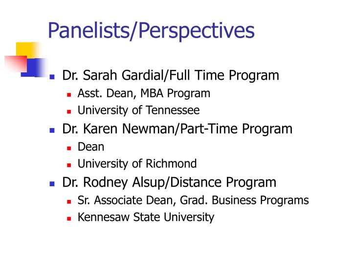Panelists perspectives