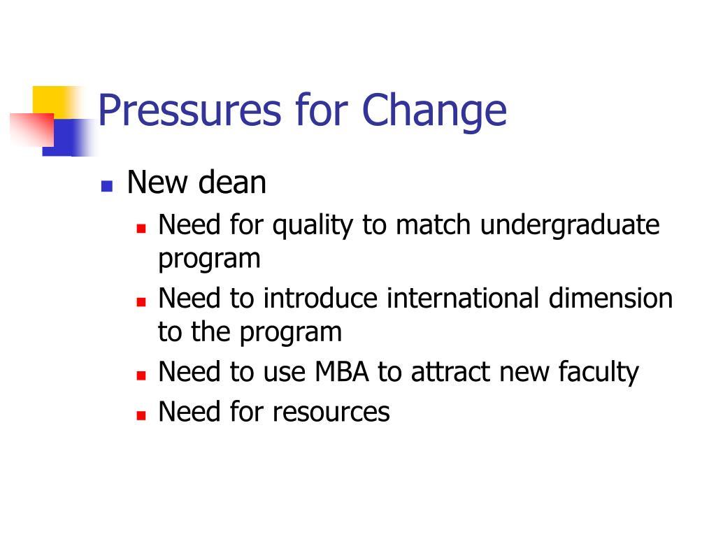 Pressures for Change