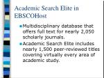 academic search elite in ebscohost