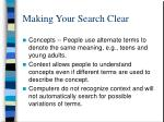 making your search clear
