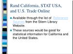 rand california stat usa and u s trade online