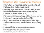services we provide to tenants